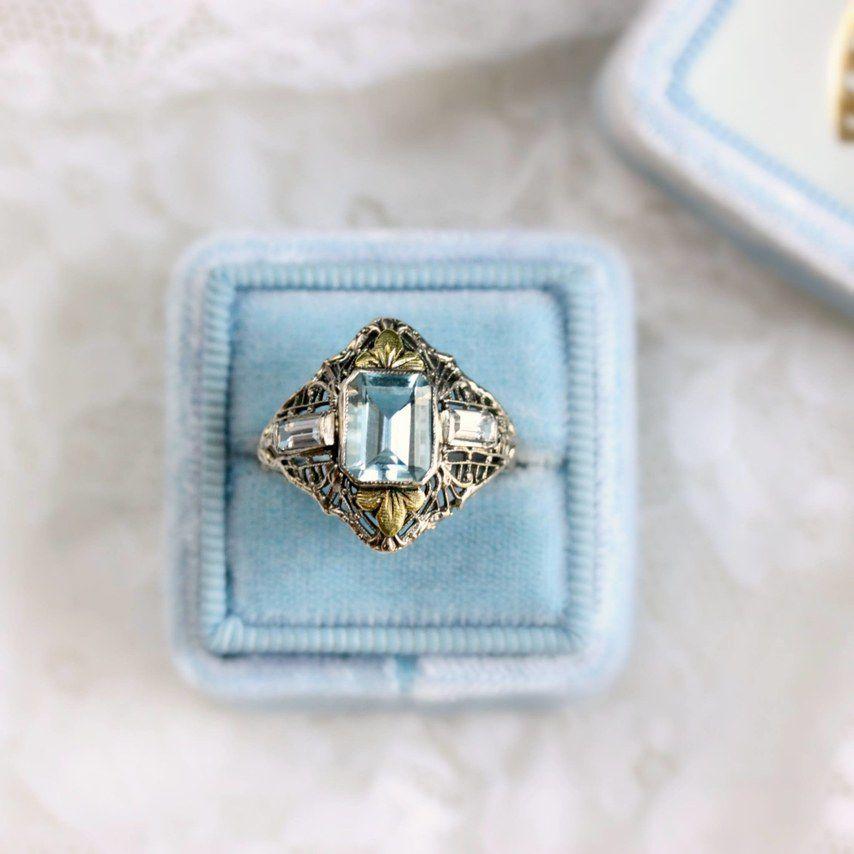Three-Stone Blue Engagement Ring
