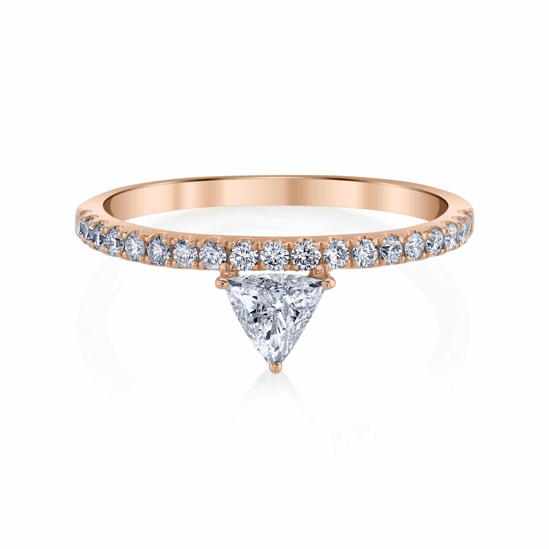 Rose gold engagement ring modern