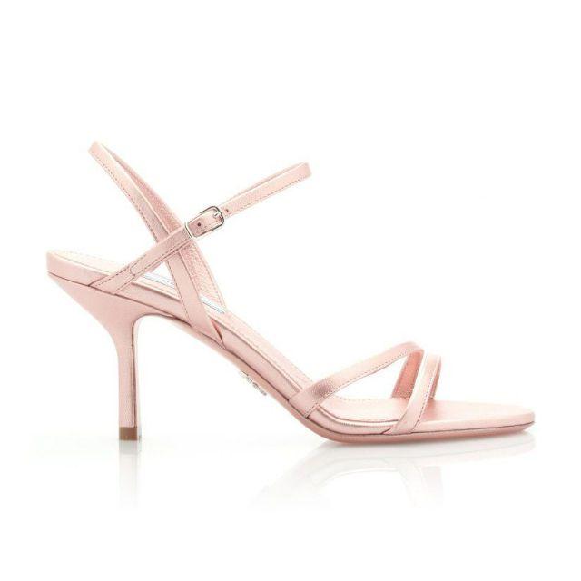 Short heeled strappy rose gold sandals