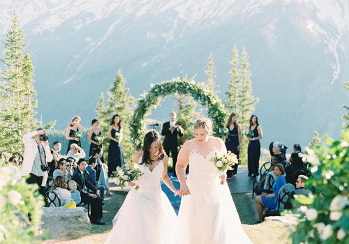 <p>Brides during recessional</p>
