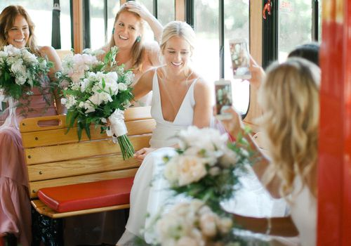 bridesmaids in trolley