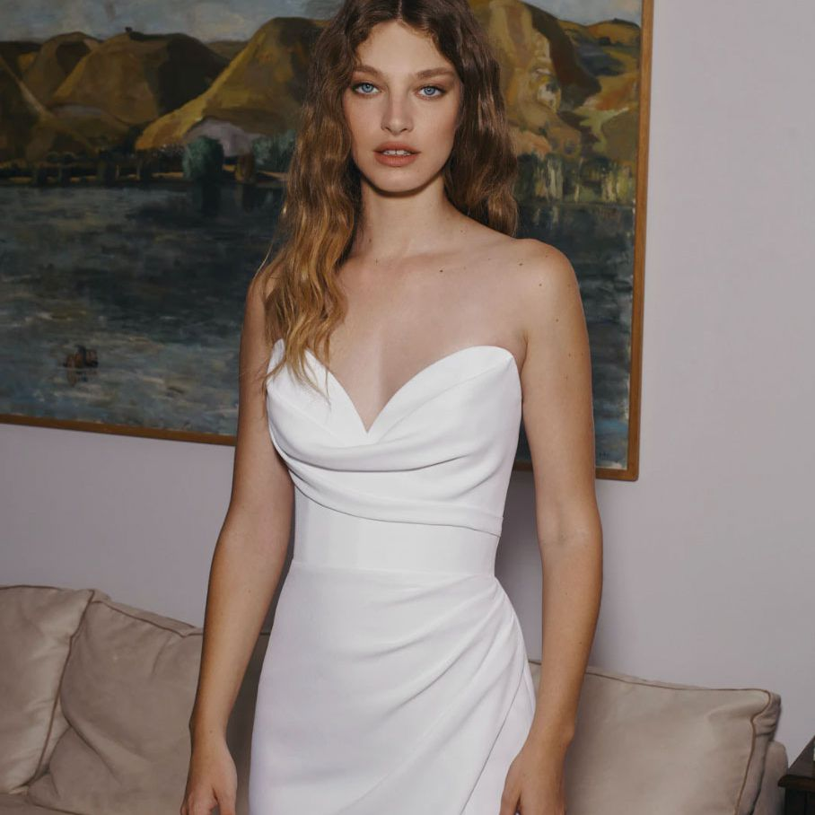 strapless gown with thigh slit