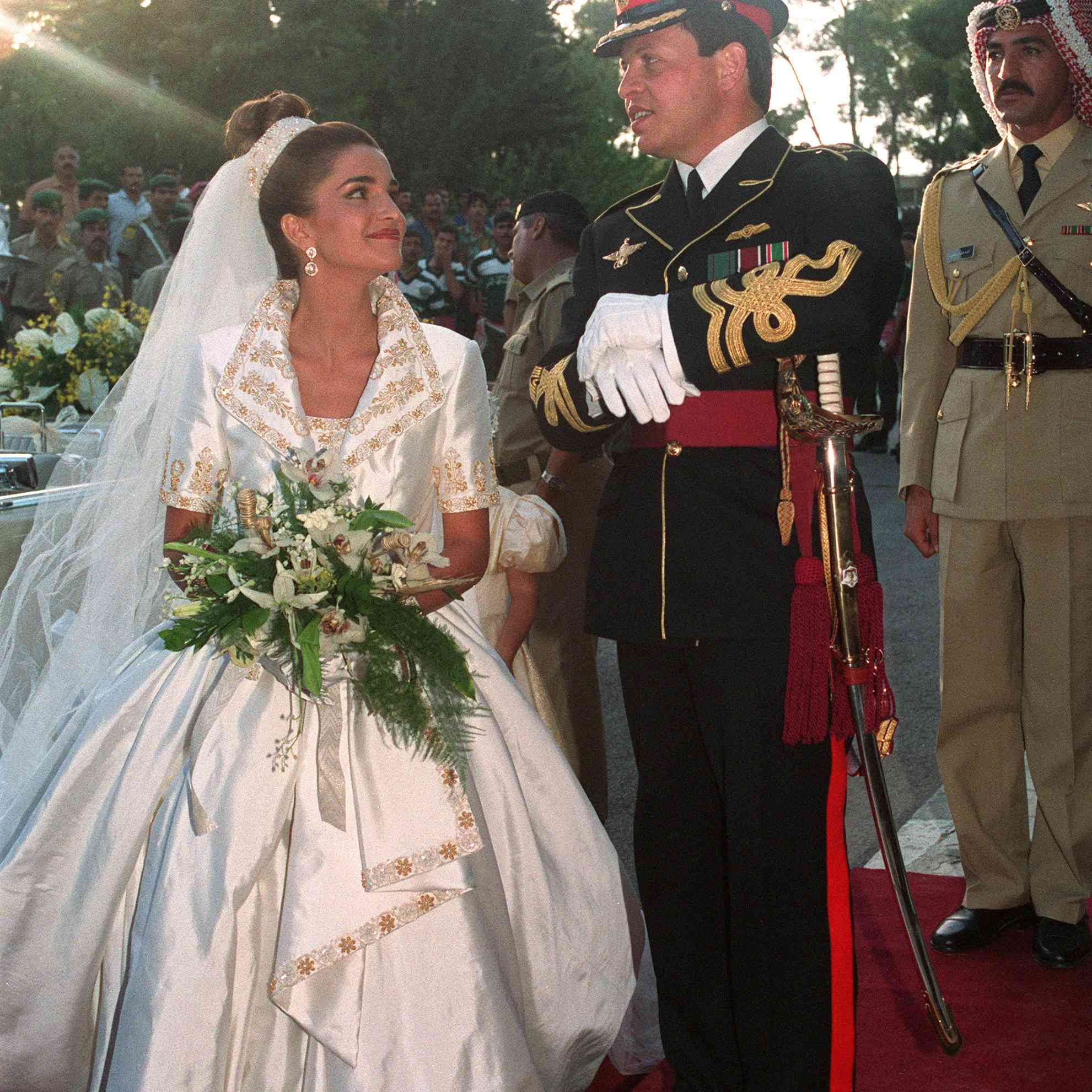 Prince Abdullah and Queen Rania on their wedding day