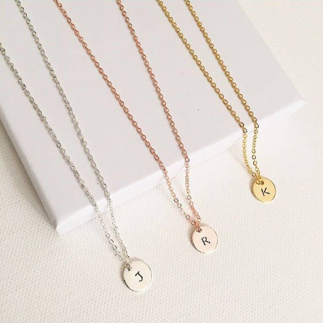 The Lost Bubbles Hand Stamped Initial Necklace