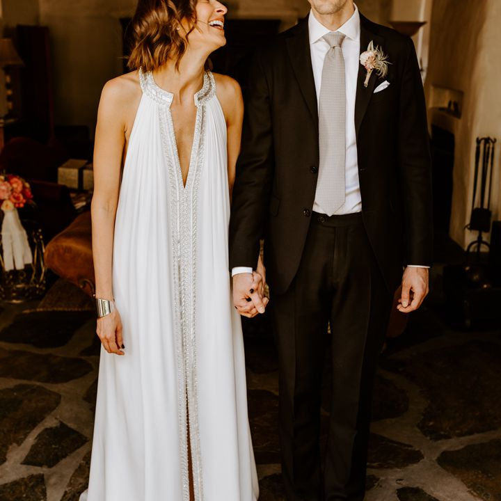 <p>bride laughing at groom</p><br><br>