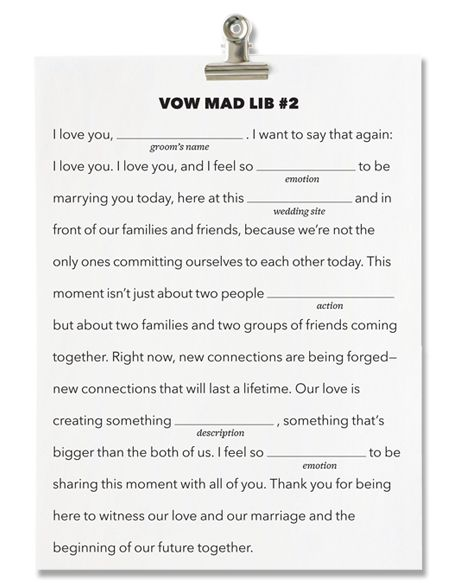 Wedding Vow Ideas.Mad Libs Meets Marriage Write Your Own Wedding Vows Just By