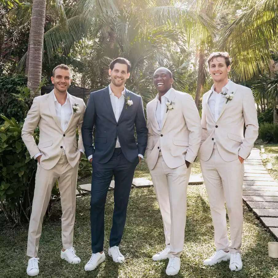 Groom and groomsmen with no ties