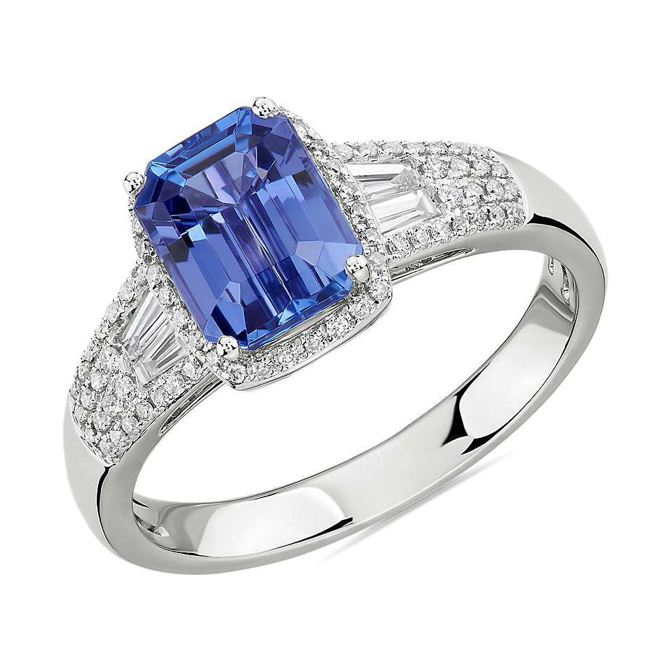 Emerald-Cut Tanzanite Ring with Diamond Baguette Side Stones