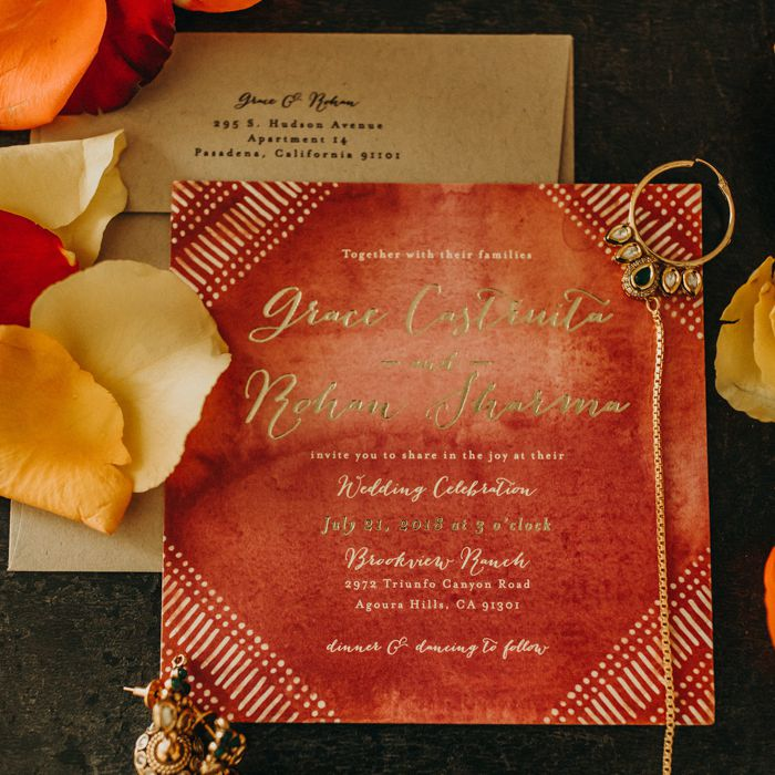 Indian inspired invitation