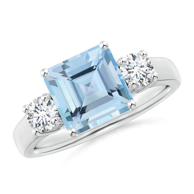 Angara Square Emerald-Cut Aquamarine and Diamond Three Stone Ring