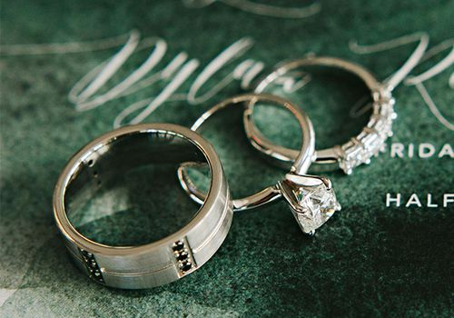 Unique men's wedding band and women's wedding ring