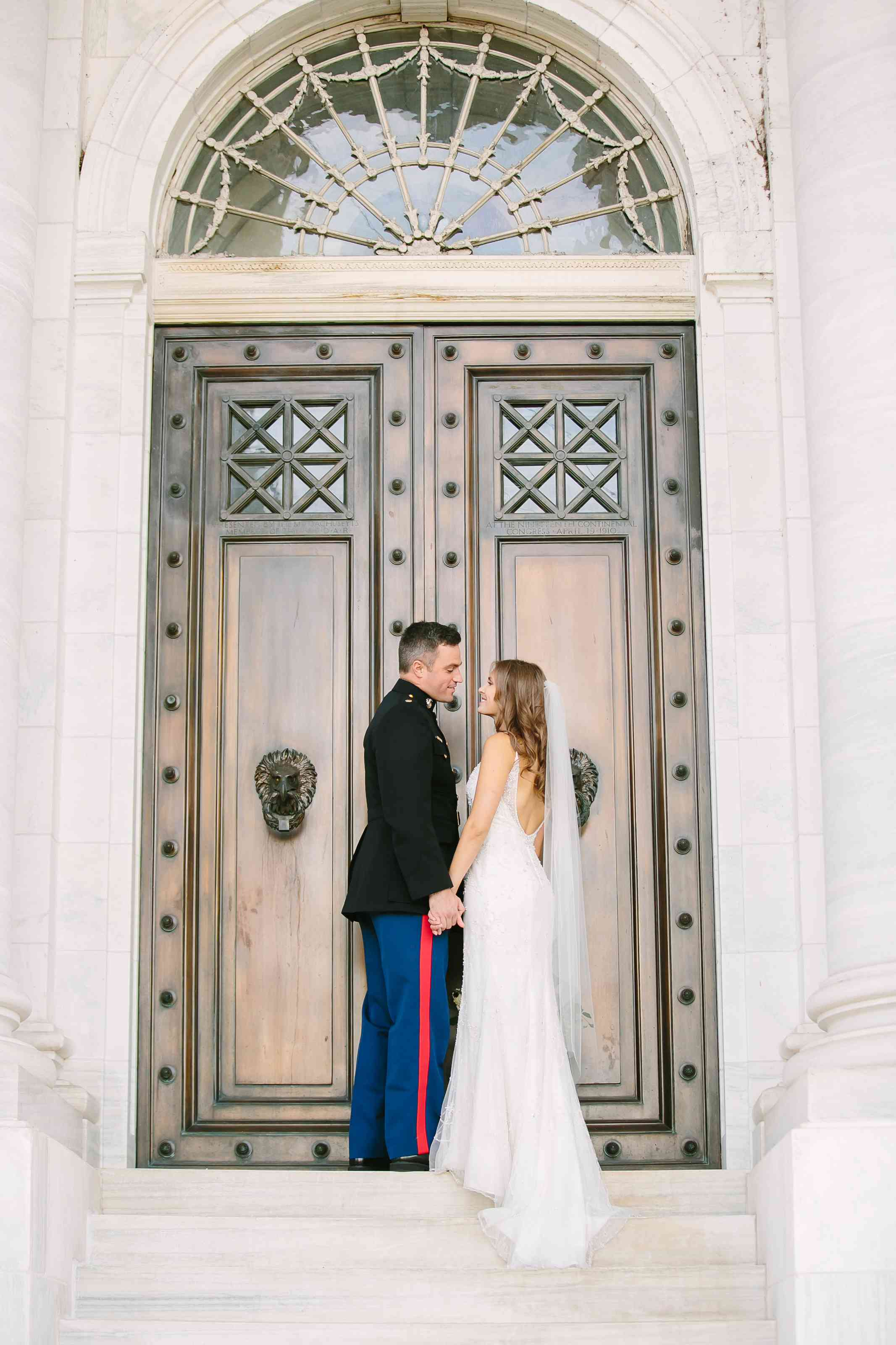Bride and groom in front of church