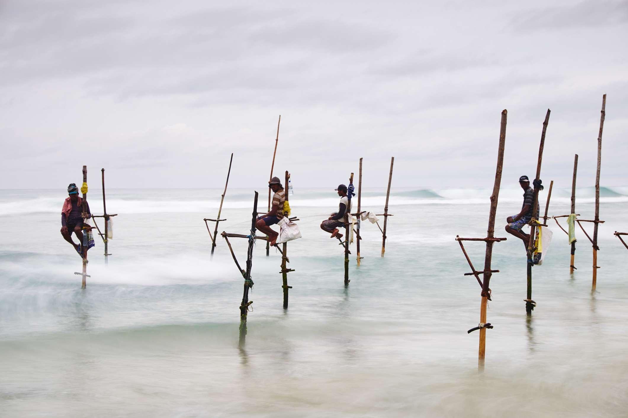 Stilt fishermen on the south coast of Sri Lanka, on Weligama beach, at dusk.