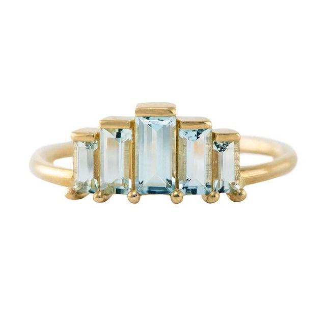Artemer Geometric Baguette Cut Aquamarine Ring