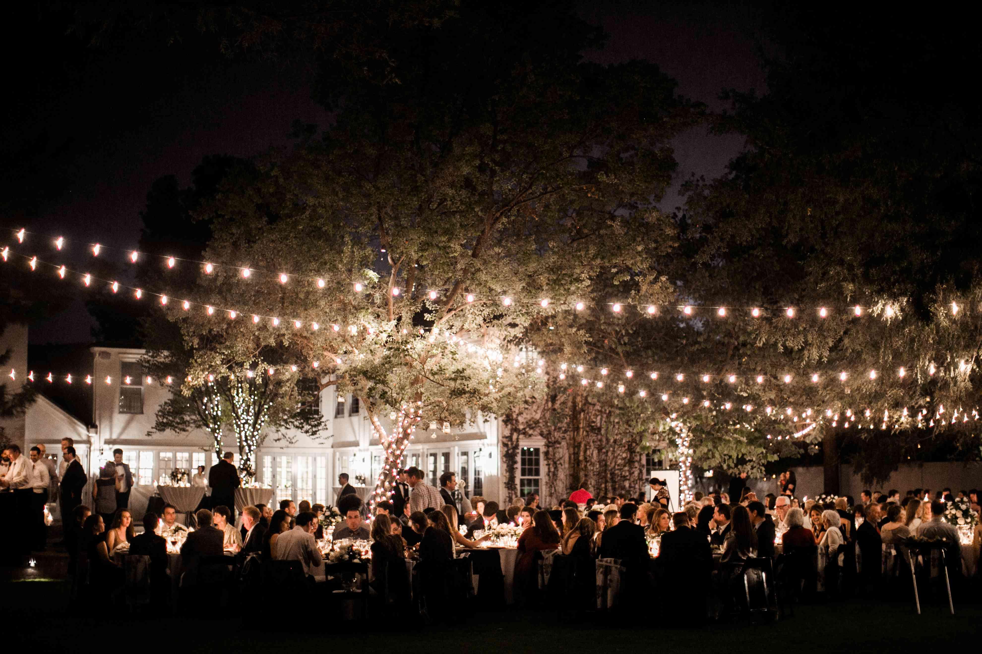 String lights at wedding reception