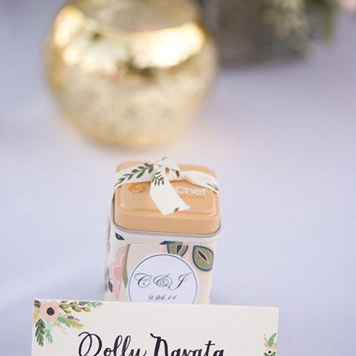 Mini tea tin wedding favors