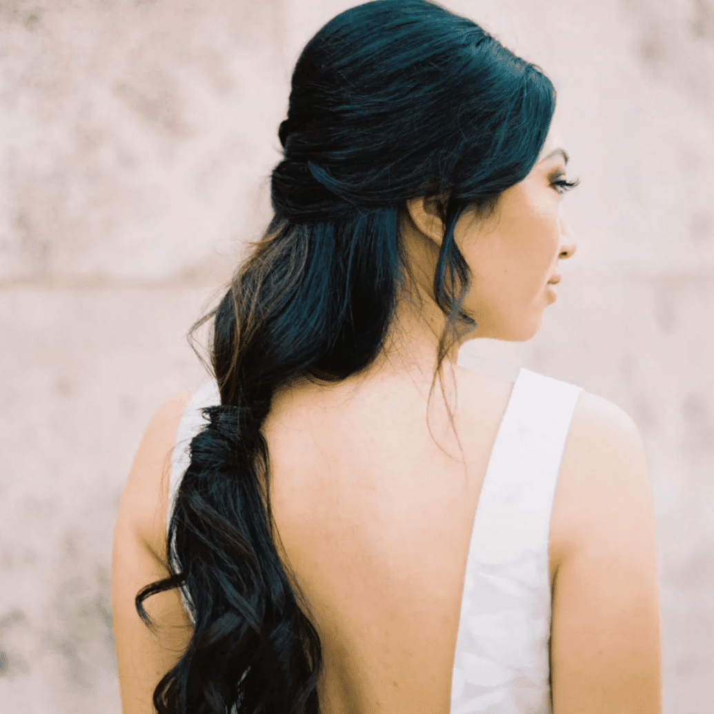 Bride with braid x ponytail combo