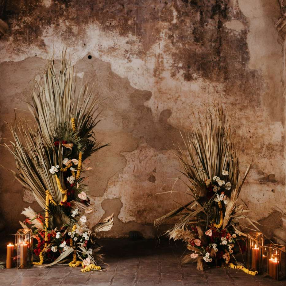 Nuptial altar of dried palms