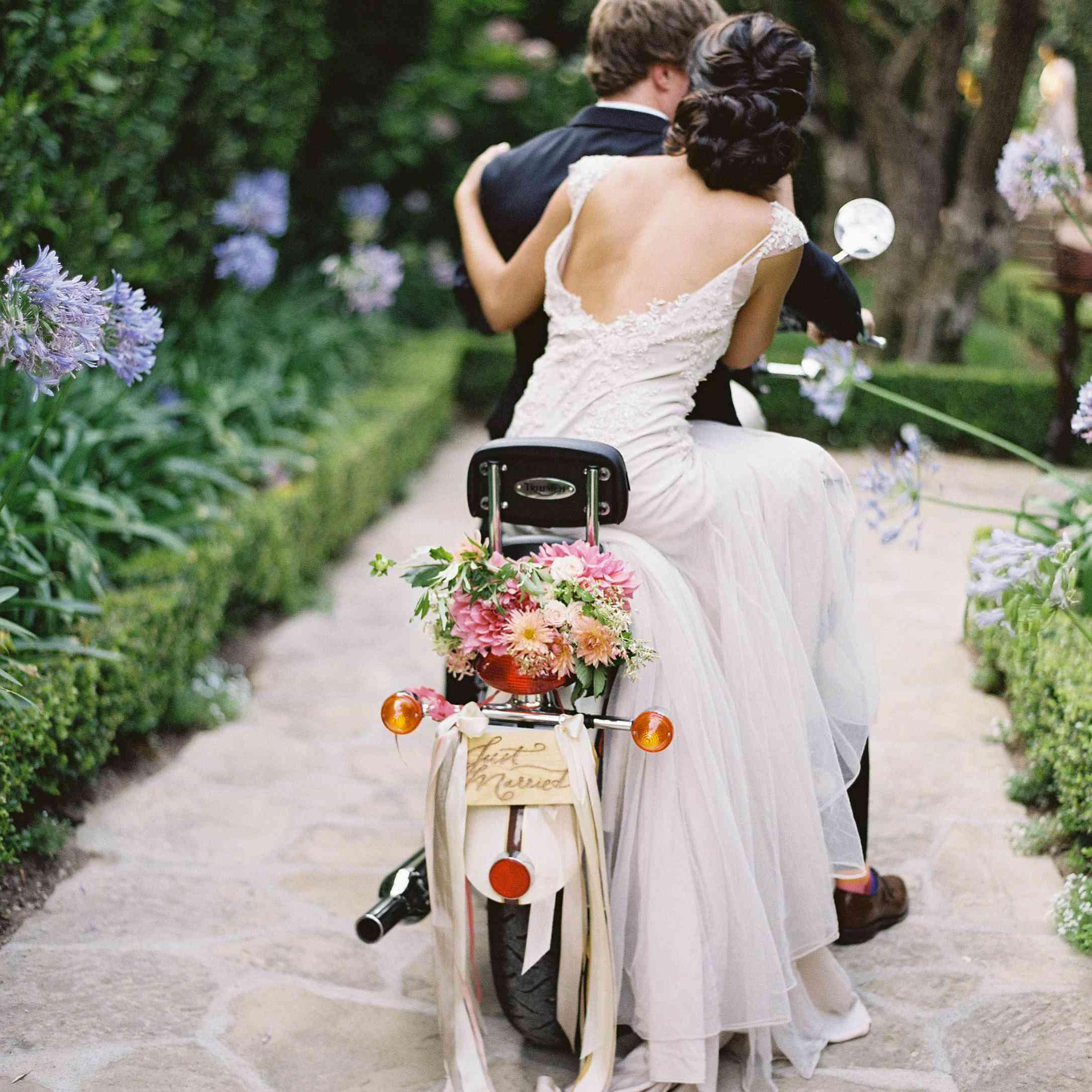 Newlyweds on motorcycle