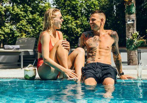 Couple enjoying in the pool