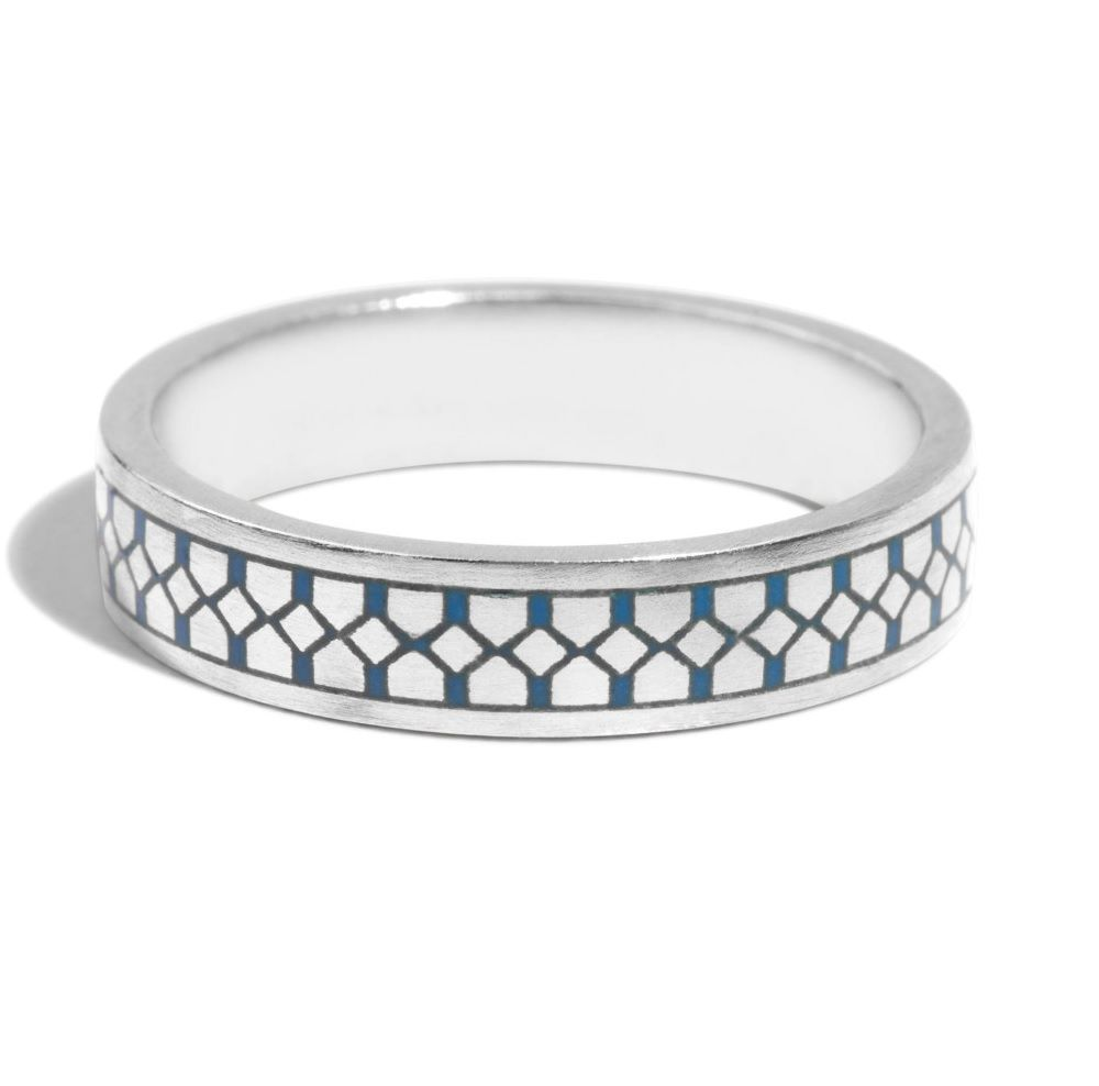 Bario Neal Shield Band With Blue Enamel