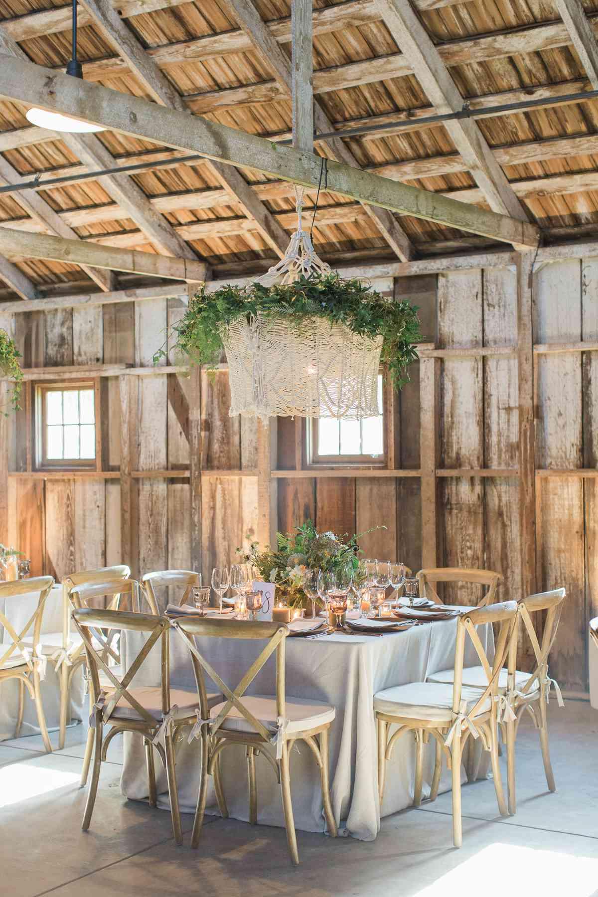 <p>Wedding reception venue table setting</p>