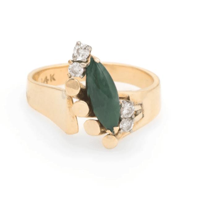 Vintage Jade Diamond Ring
