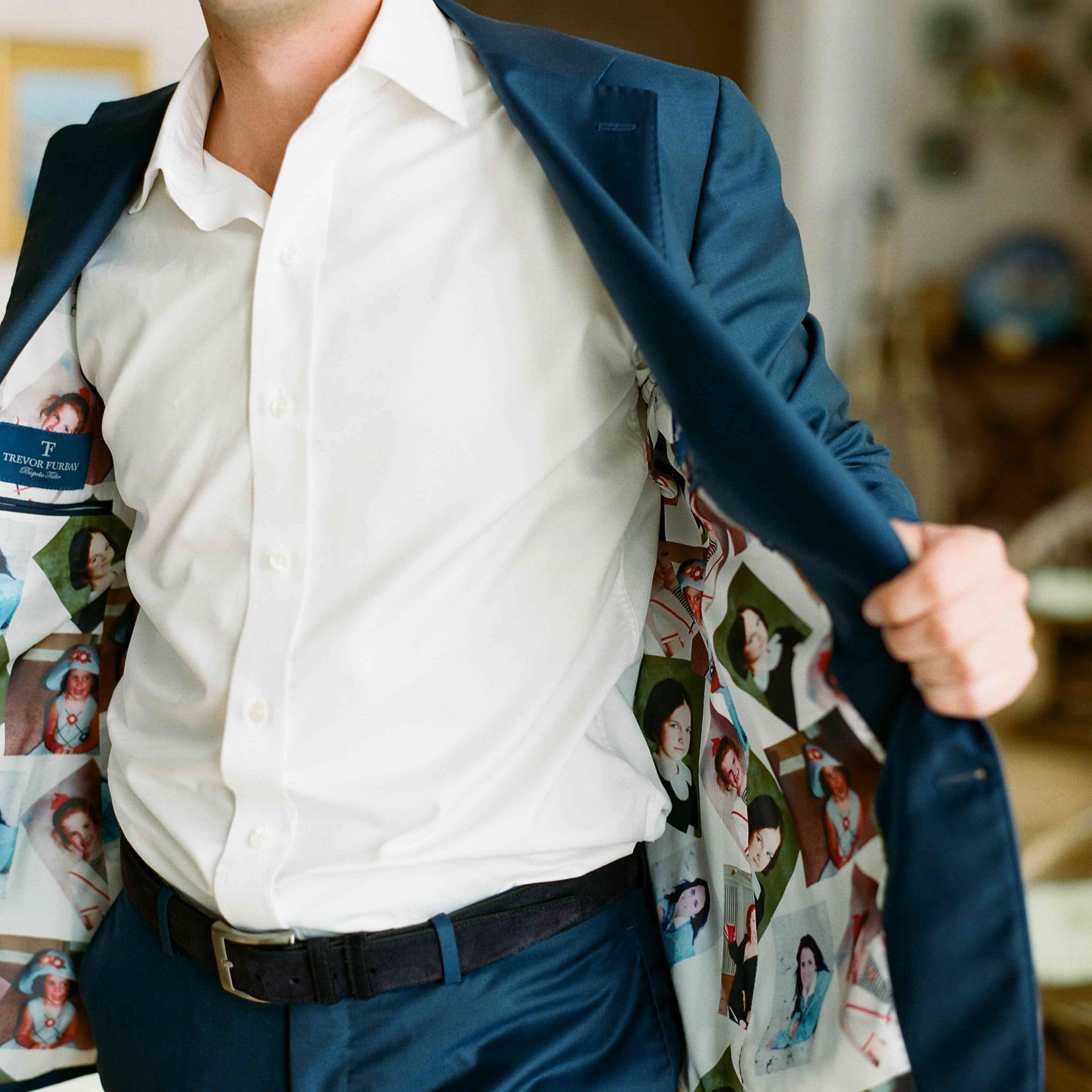 groom's jacket lined with photos of the bride