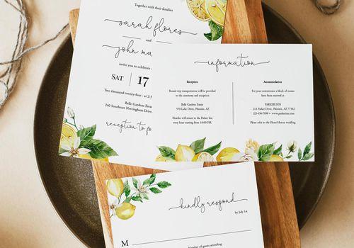 lemon wedding invitation set flat lay