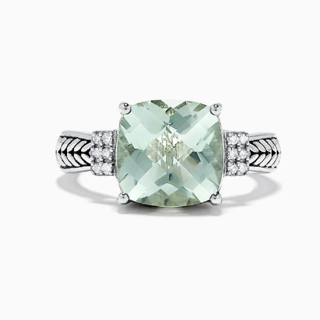 Effy 925 Sterling Silver Green Amethyst and Diamond Ring