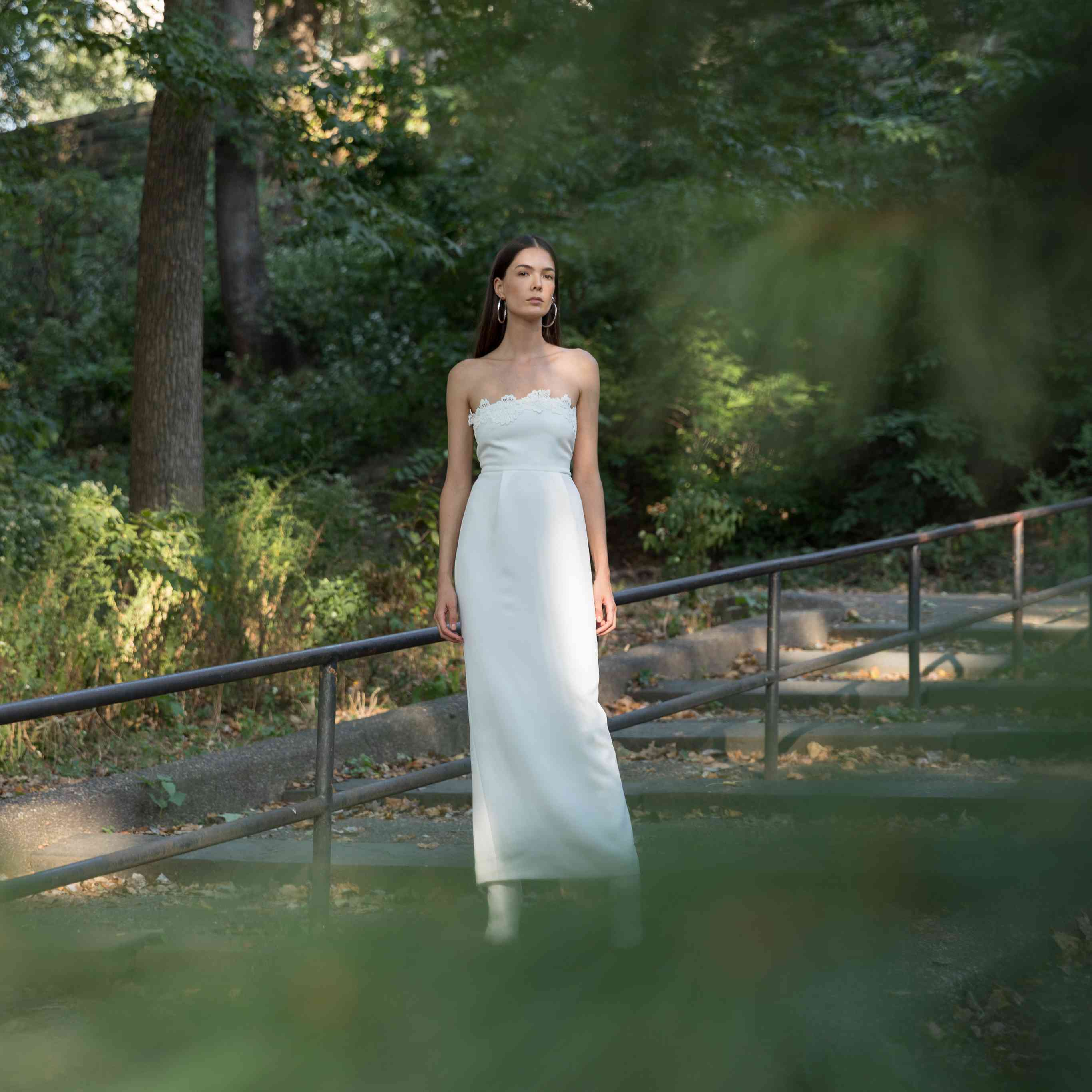 Model in strapless tulip wedding dress