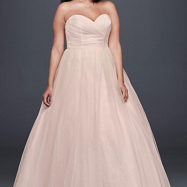 Plus Size Strapless Sweetheart Tulle Wedding Dress