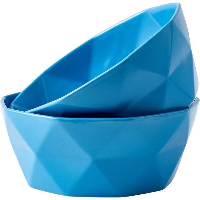 Bruntmor Geometric Modern Matte Set Of 2 Large Salad Serving Bowls