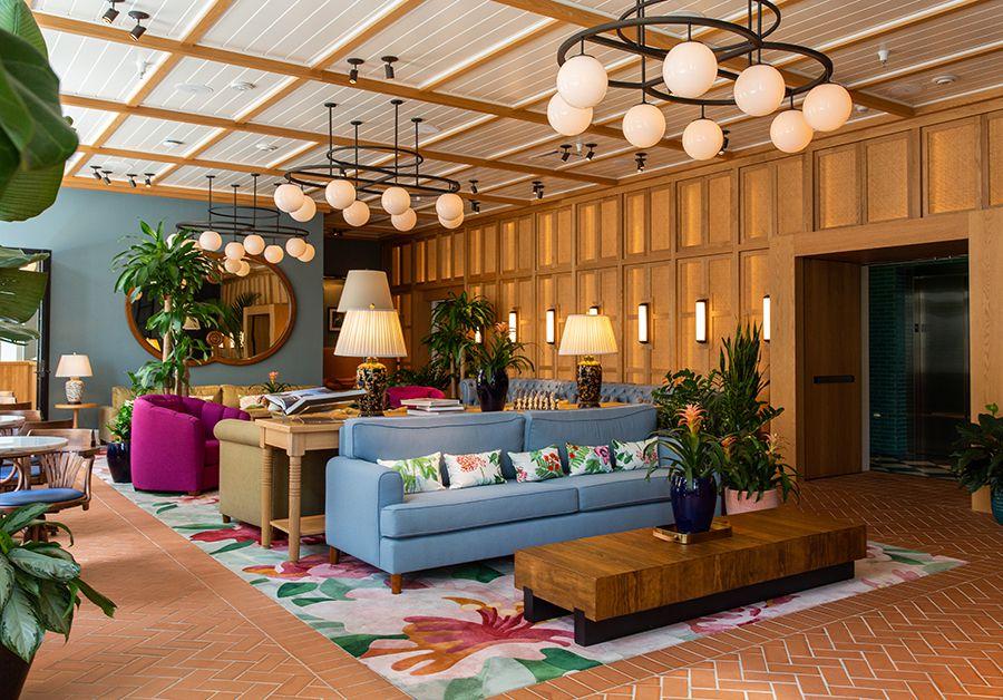 Colorful lobby of the Drayton Hotel in Savannah