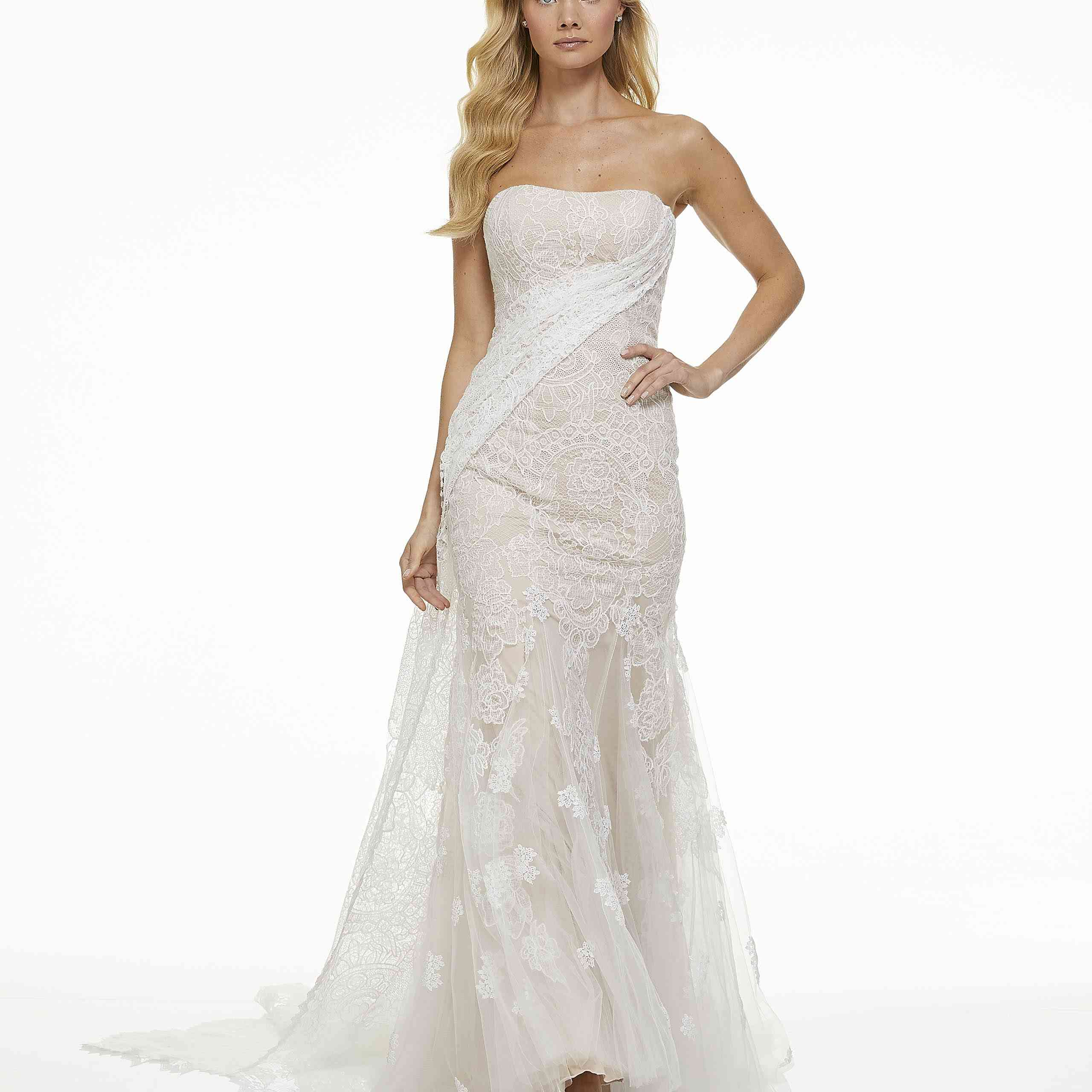 Model in strapless lace wedding dress