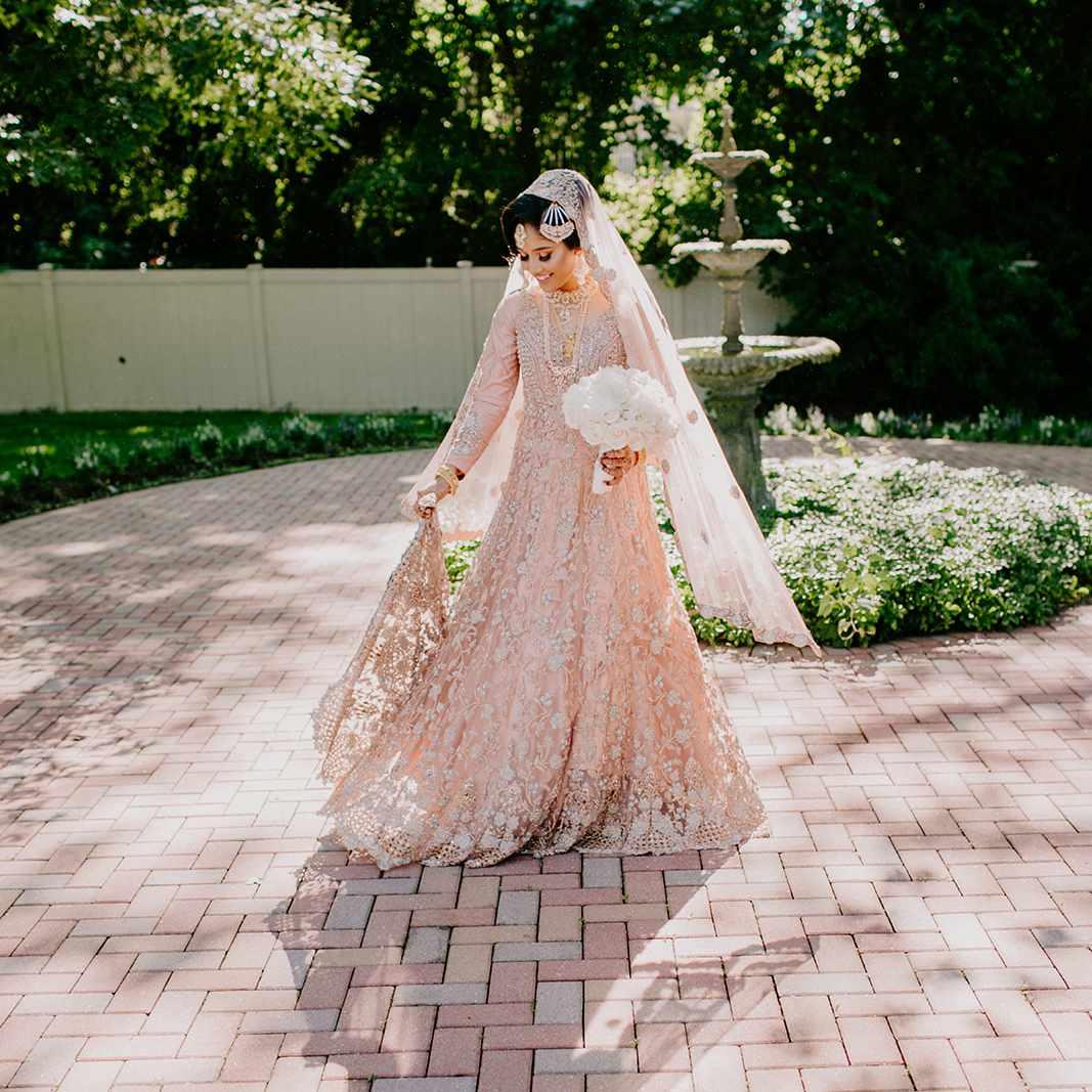bride blush wedding dress