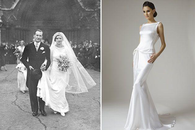 1930s wedding dress and modern