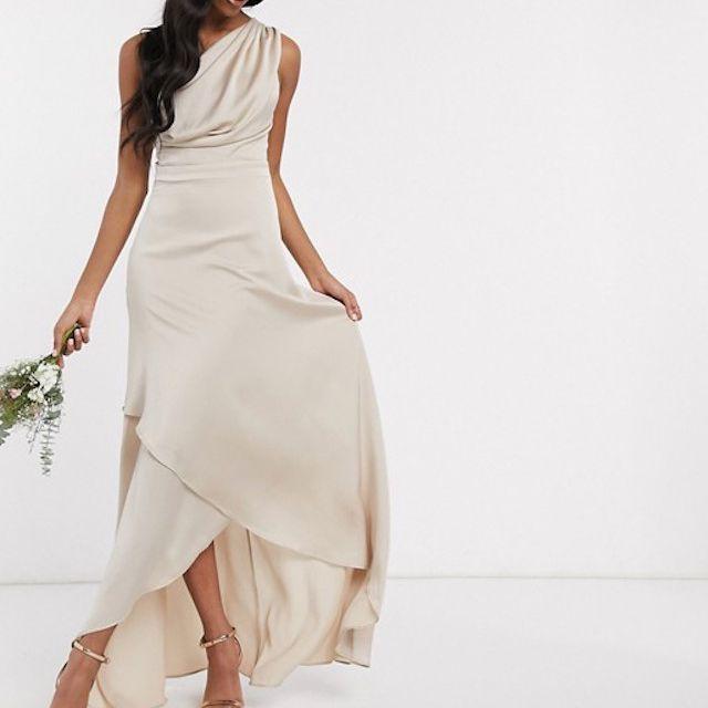 TFNC Bridesmaid One Shoulder Maxi Dress