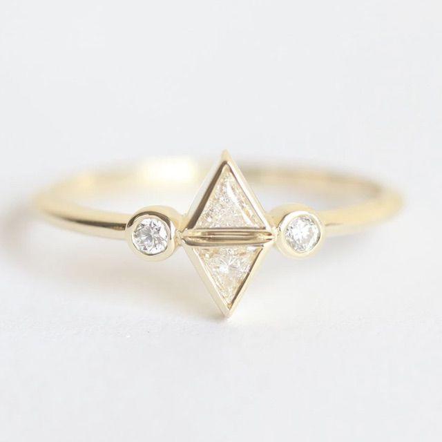 Capucinne Diamond Trillion Ring, Trillion Engagement Ring