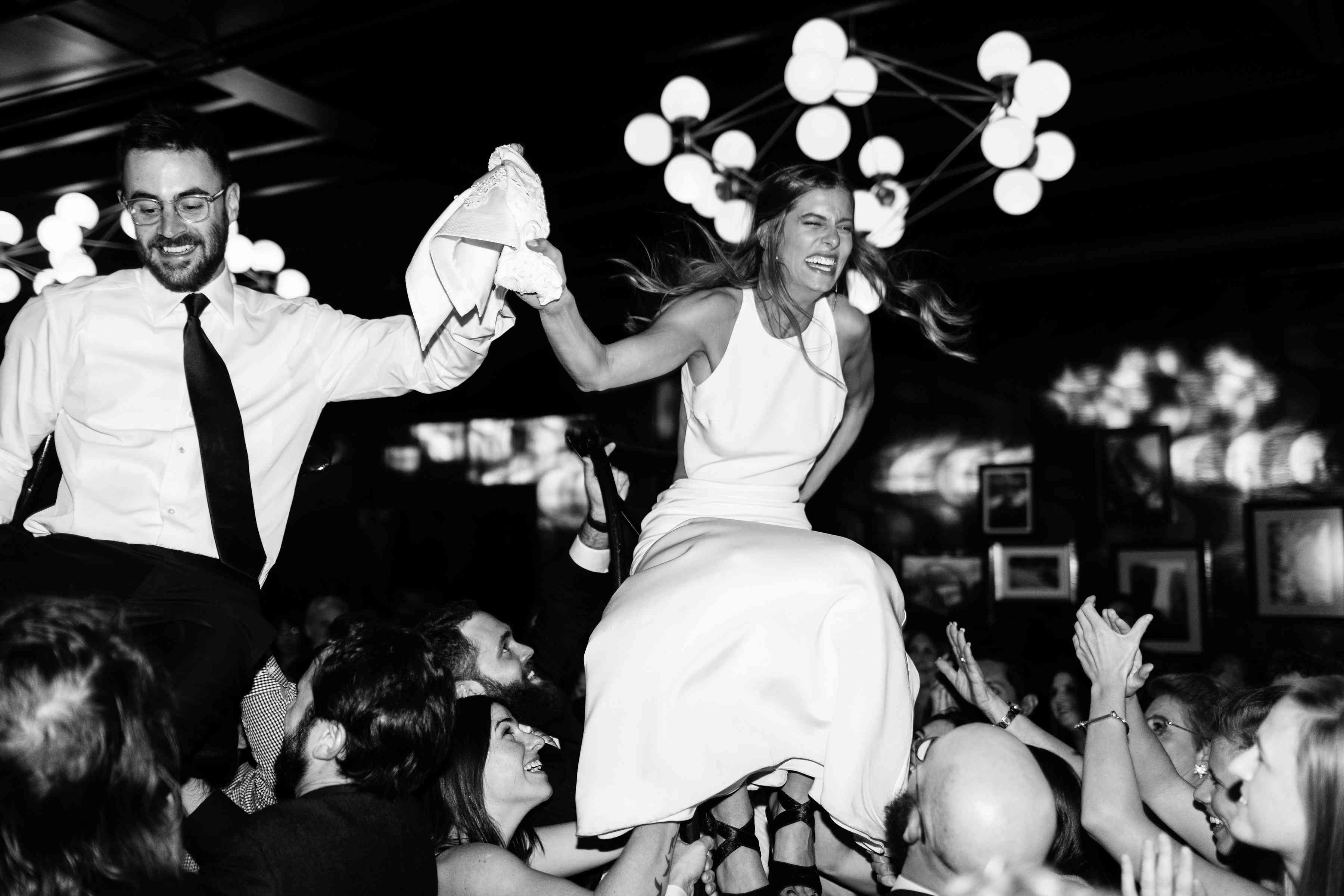 Bride and groom chair dance