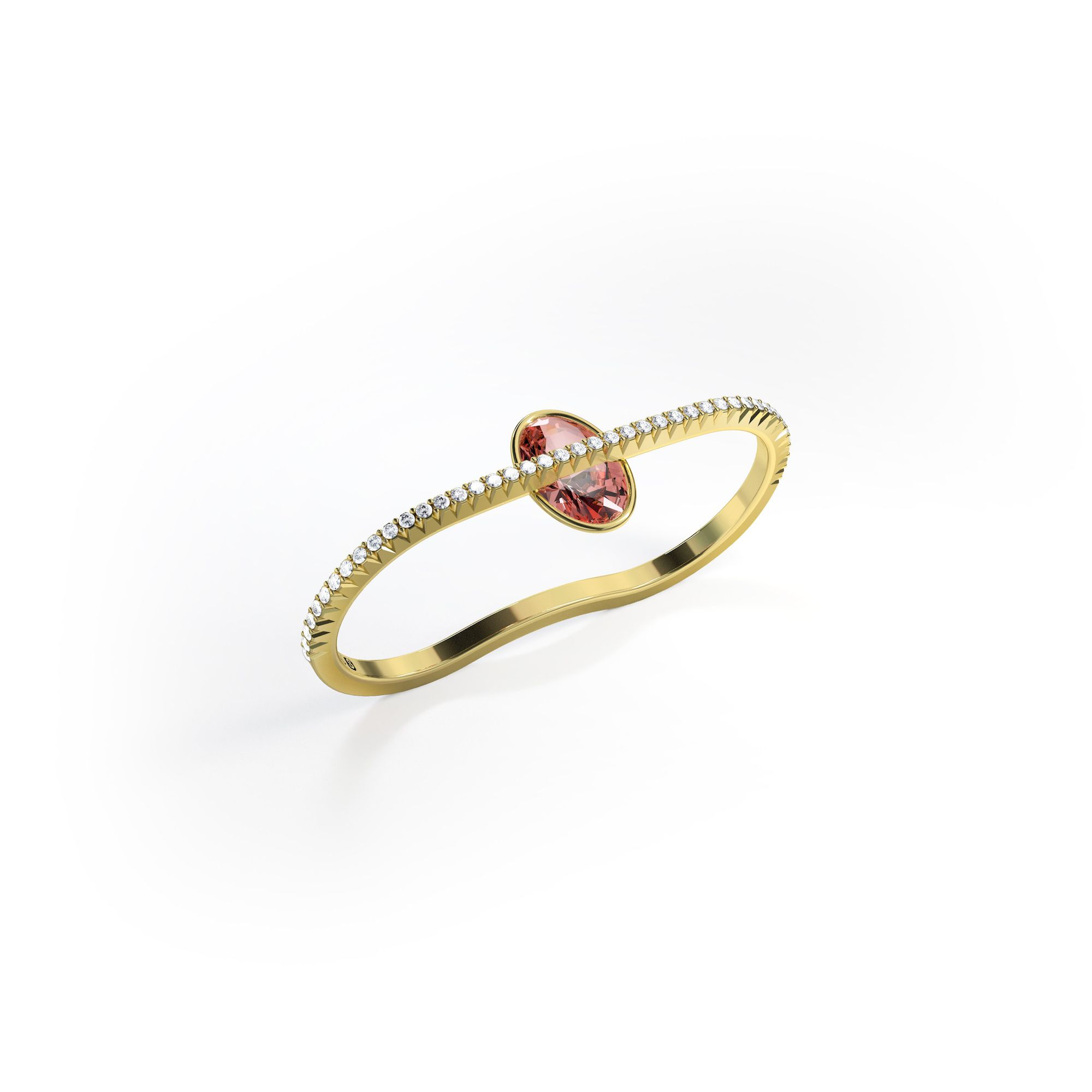 Two-finger engagement ring with yellow gold band on a white background.