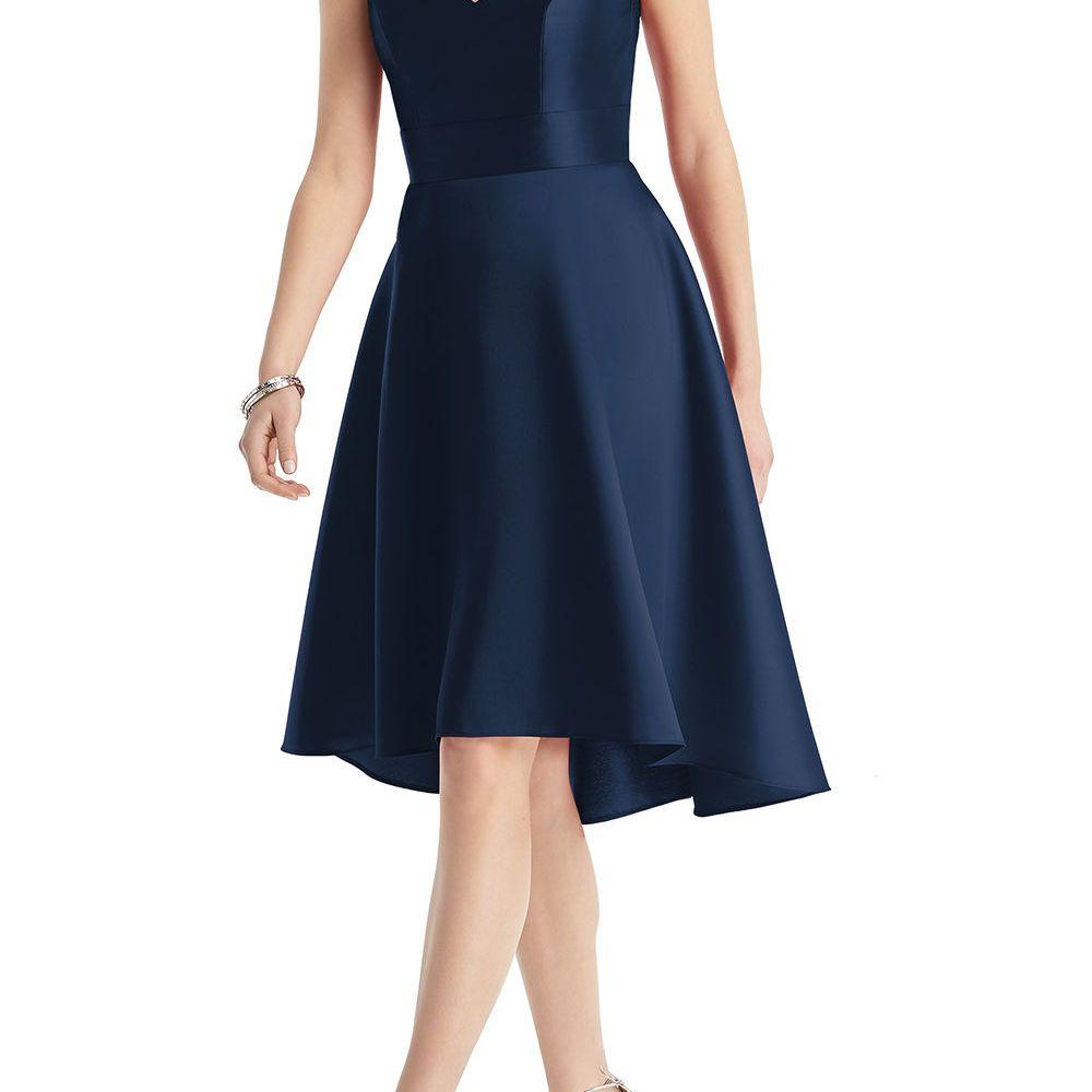 Model in a v-neck mini high-low hem cocktail dress