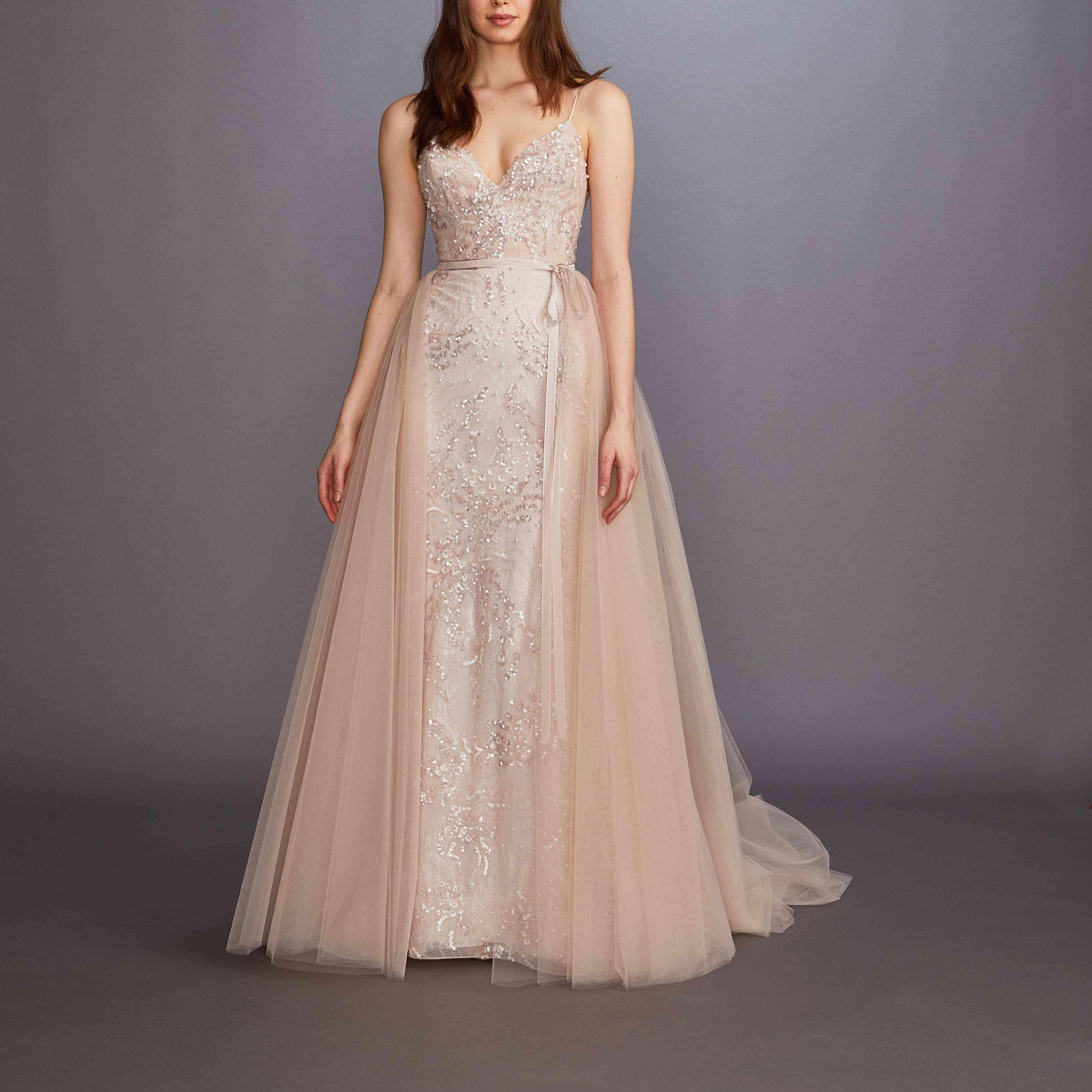 Ayana blush sleeveless wedding dress by Lazaro