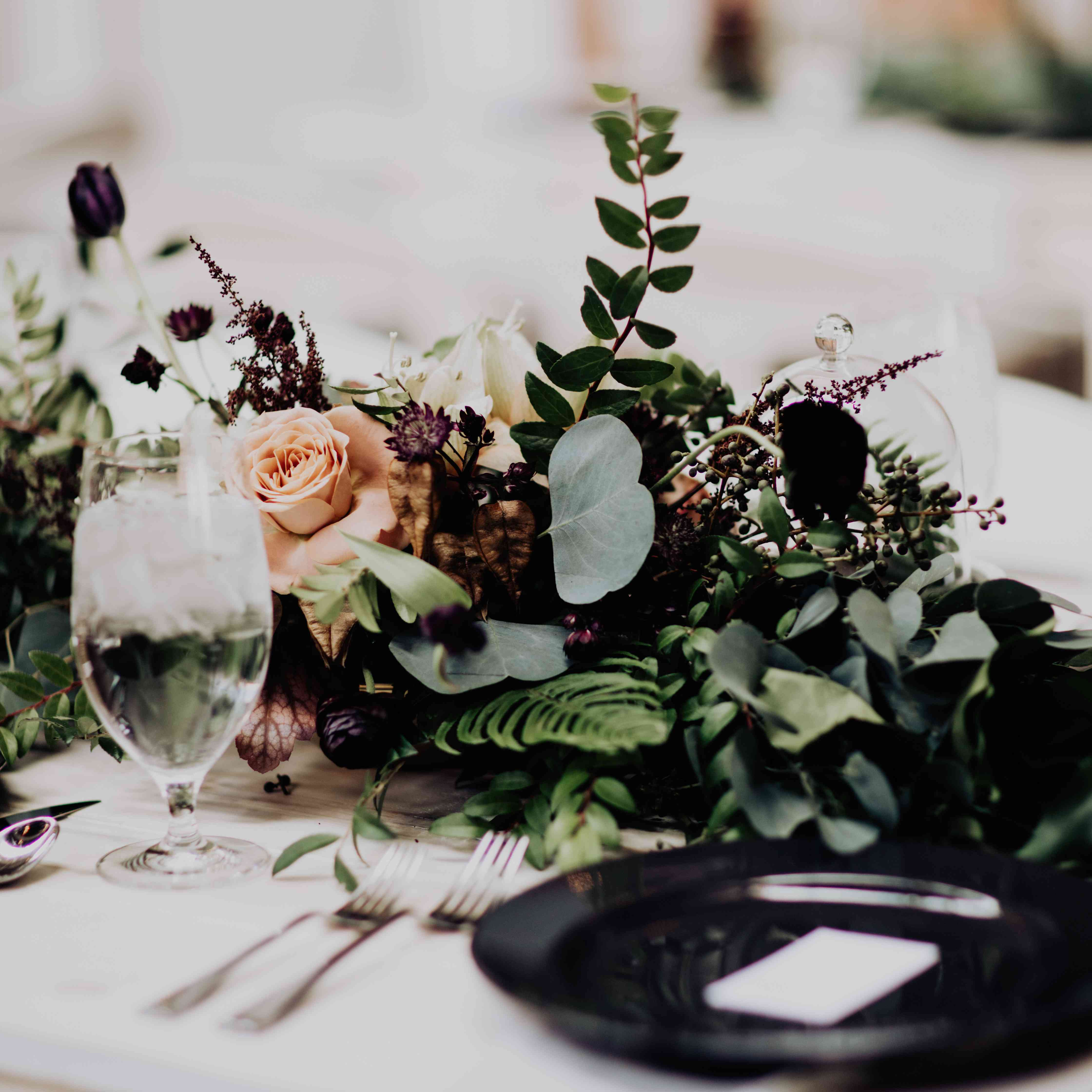 <p>place setting dark moody florals</p><br><br>