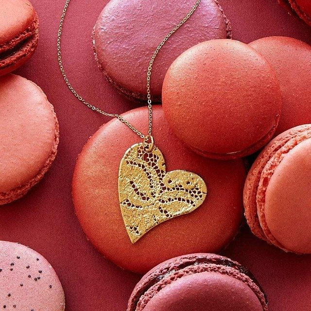 Uncommon Goods Precious Dipped Lace Heart Necklace