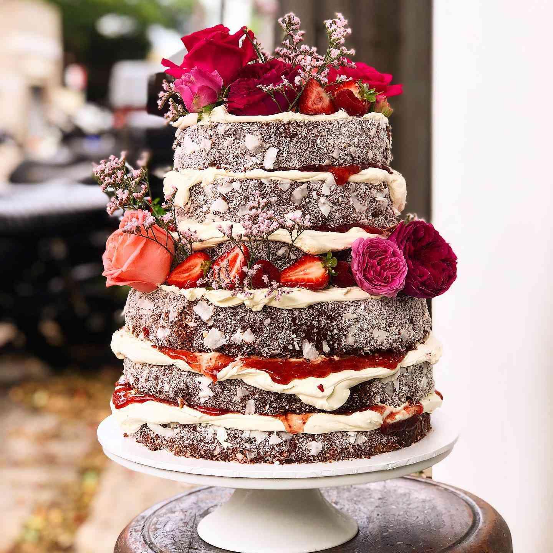 lamington naked cake