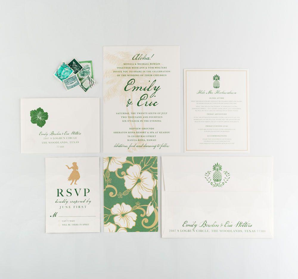 Green and gold Hawaiian flower wedding invitations