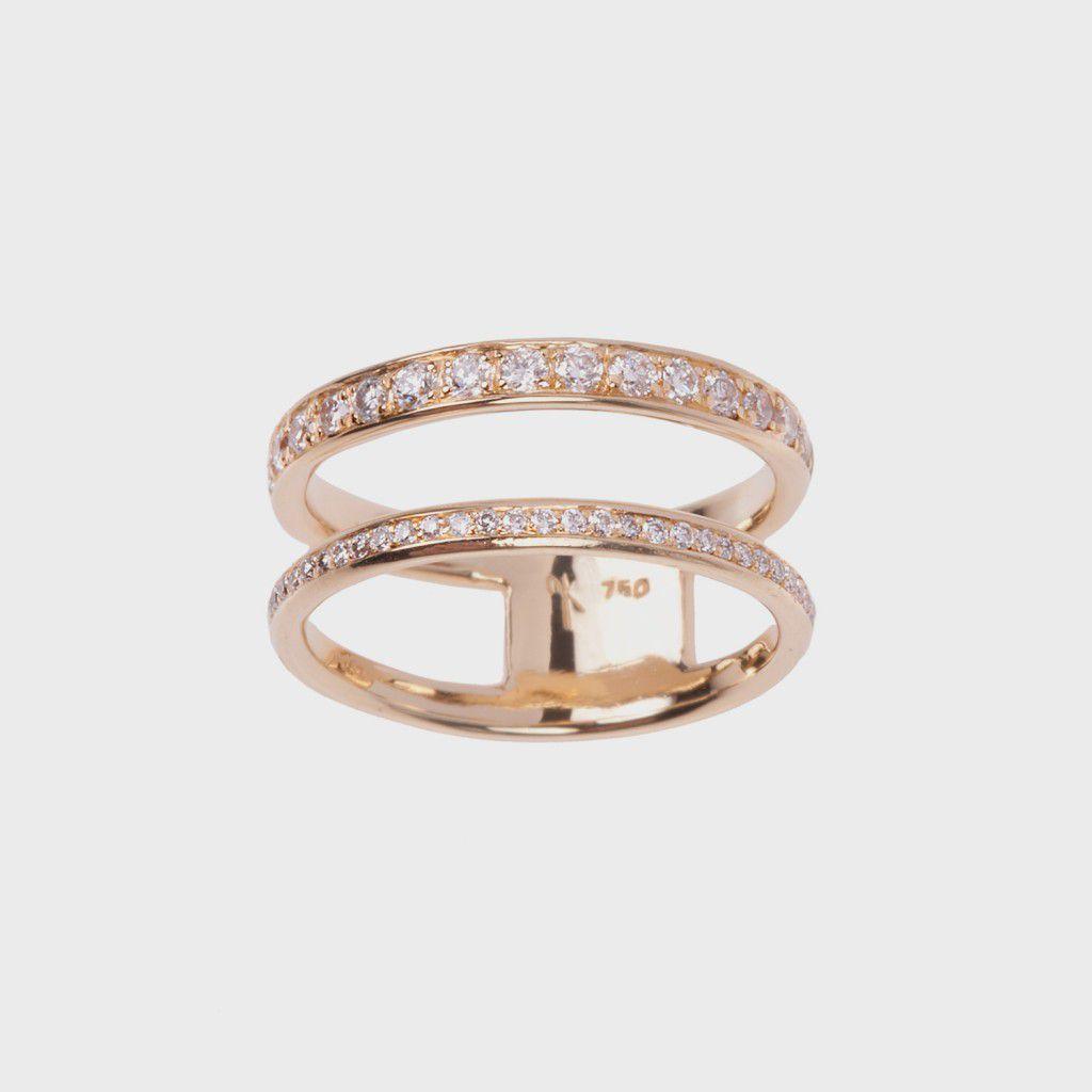 Nikos Koulis Yellow Gold Ring With White Diamonds