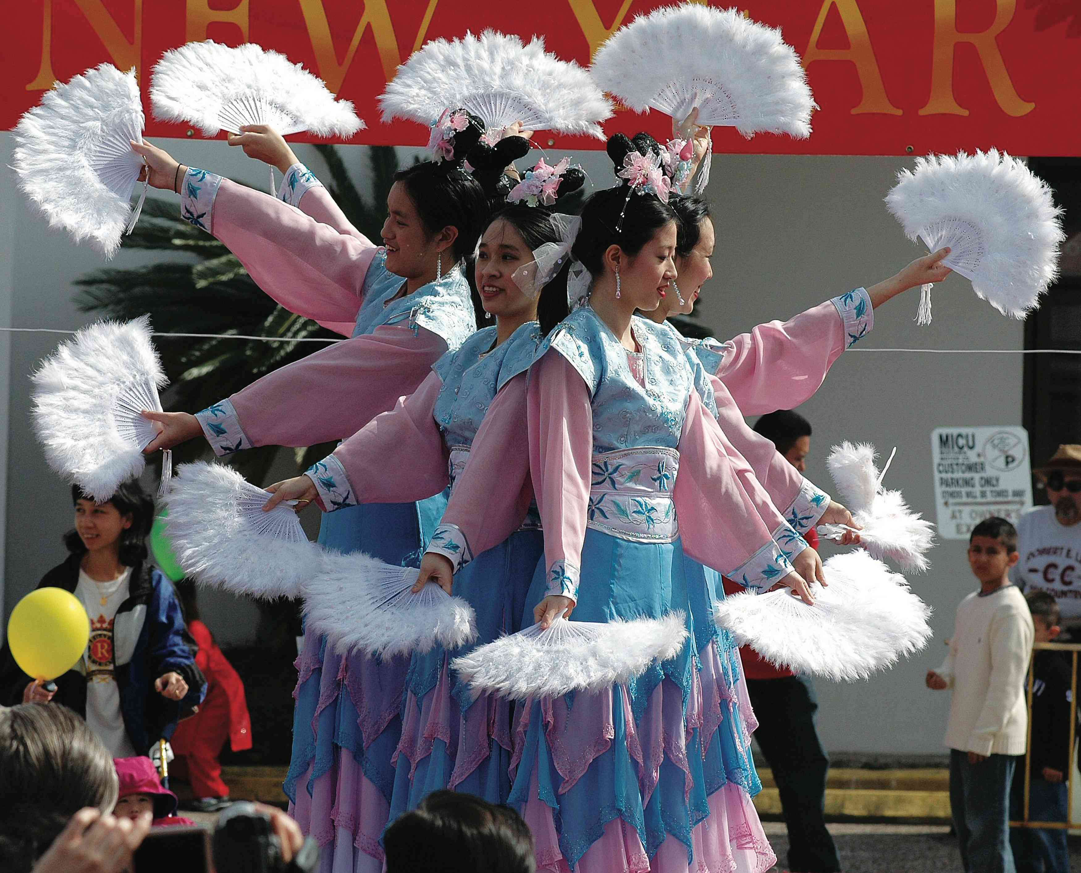 Dancers celebrating Chinese New Year in Houston's AsiaTown