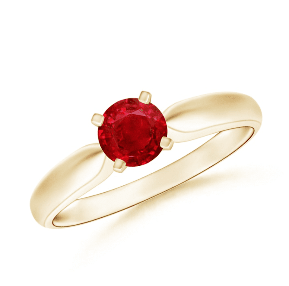 Angara Ruby Solitaire Engagement Ring